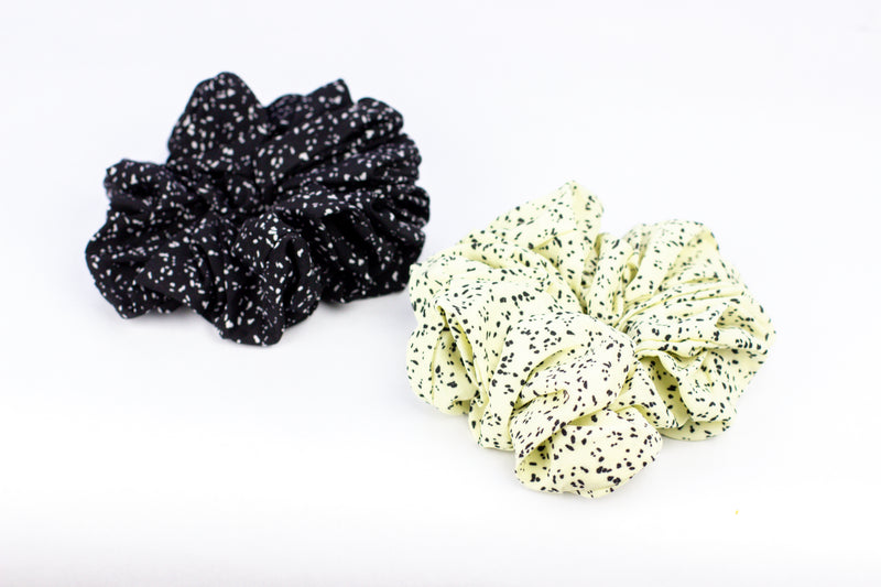Charcoal + Pale Lemon Scrunchies