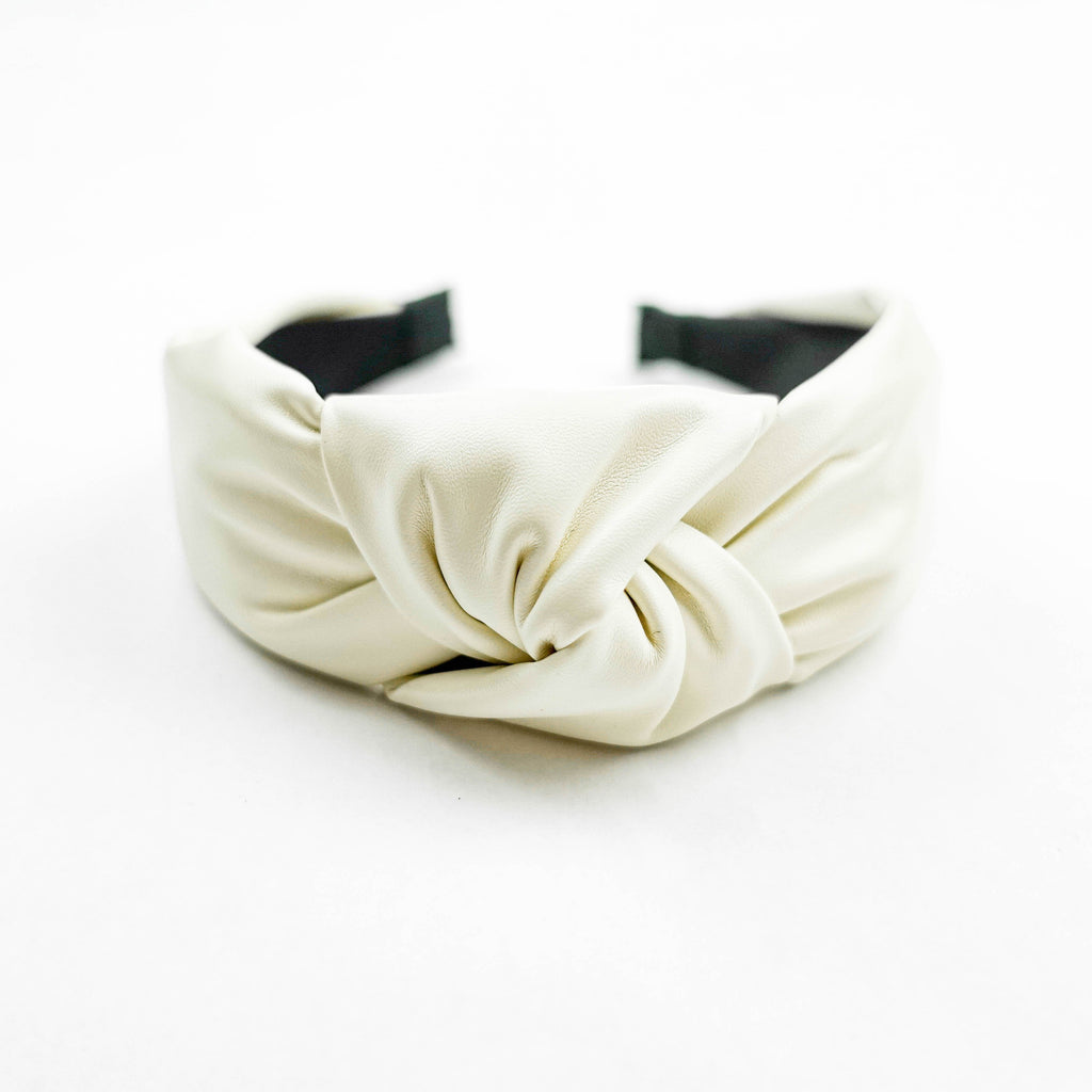 Ivory Faux Leather Headband