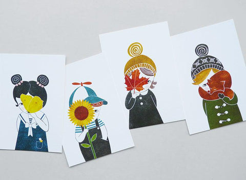 Seasonal Kids | set van 4 prints-Print-Lisette Spapens
