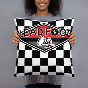 Lead Foot City Checkered Basic Pillow