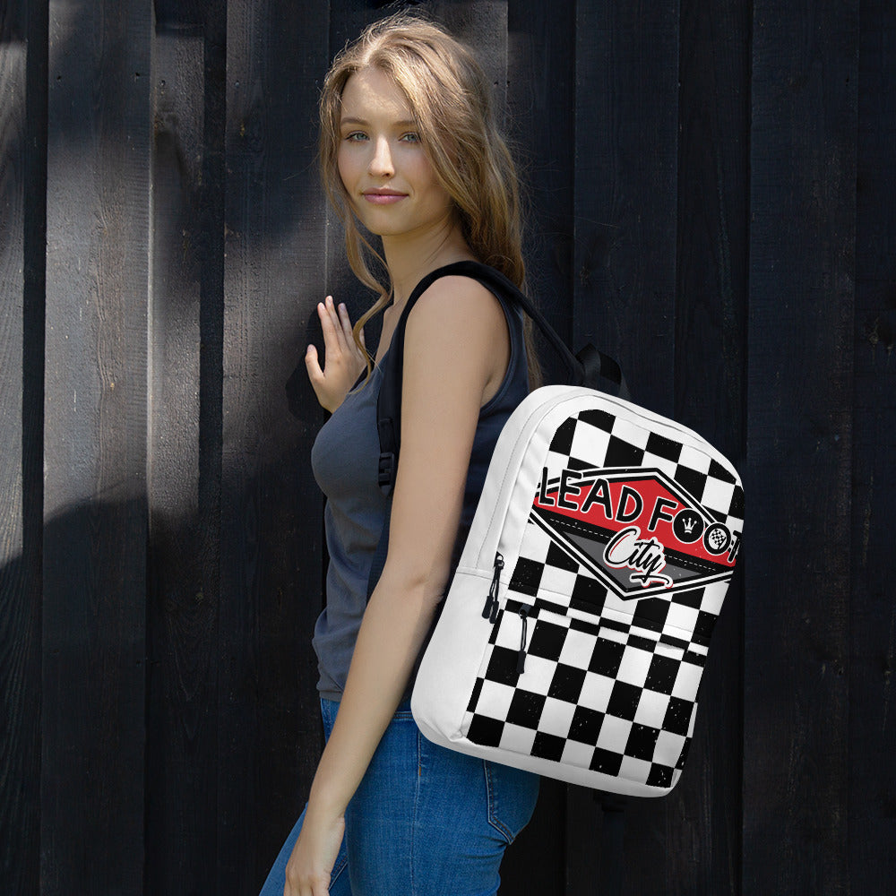Lead Foot City Checkered Backpack
