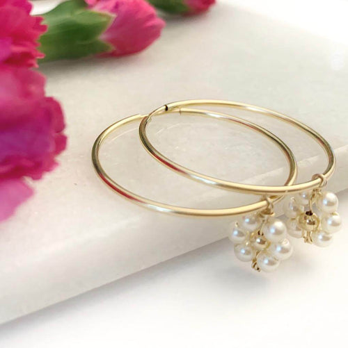 14K Gold Filled Daisy Pearl Earring