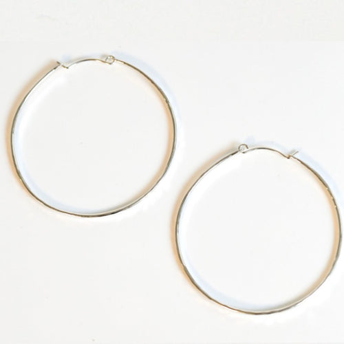 Sterling Silver Hammered Large Hoops