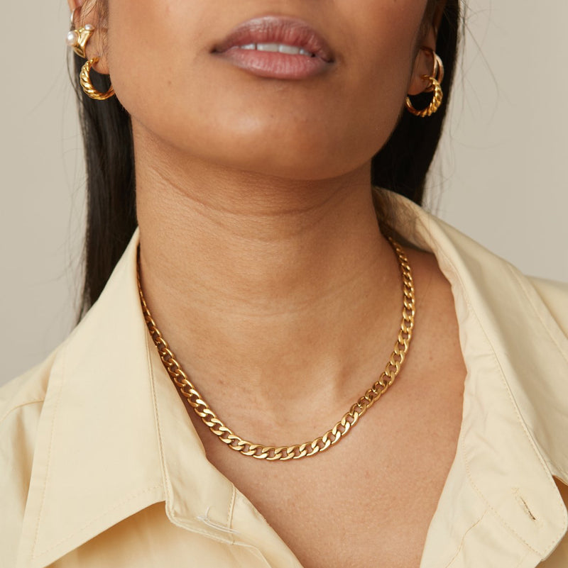 18K Gold Filled Curb Chain Necklace