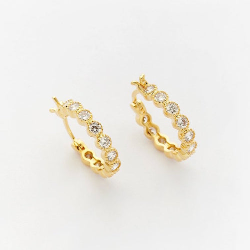 18K Gold Filled Crystal Hoops