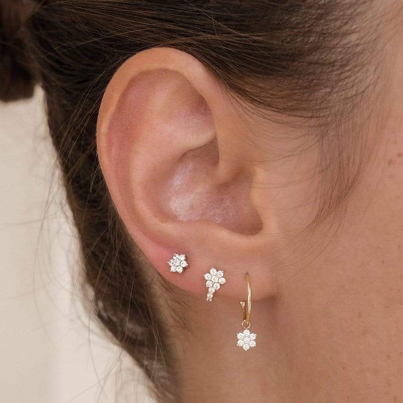 14K Gold Crystal Lotus Single Stud