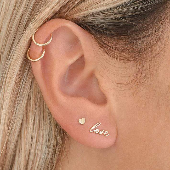 14K Gold Love Script Earring