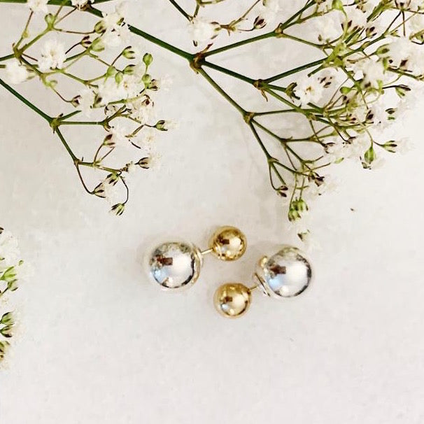 14K Gold Mixed Metal Sphere Studs