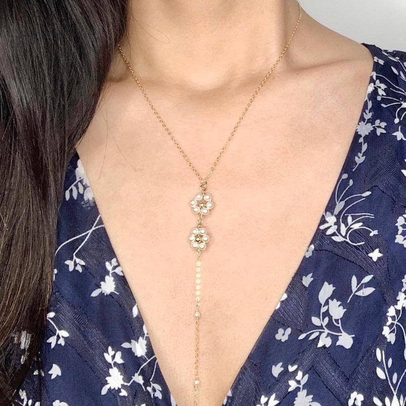 Daisy Pearl Lariat Necklace
