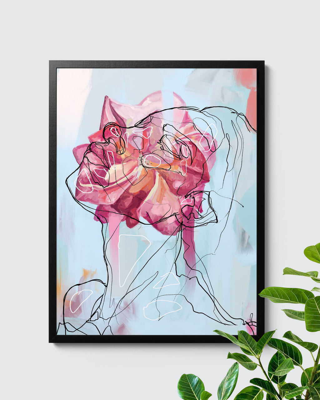 Abstract Colourful Floral Line Art Poster - Nashid Chroma