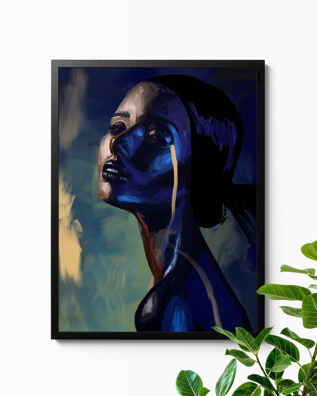 Original Fine Art Blue and Gold Fantasy Fashion Illustration Giclee Print Beautiful Home Decor Nashid Chroma
