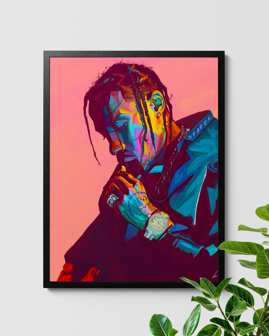 Travis Scott La Flame Hand Painted Poster Art Nashid Chroma