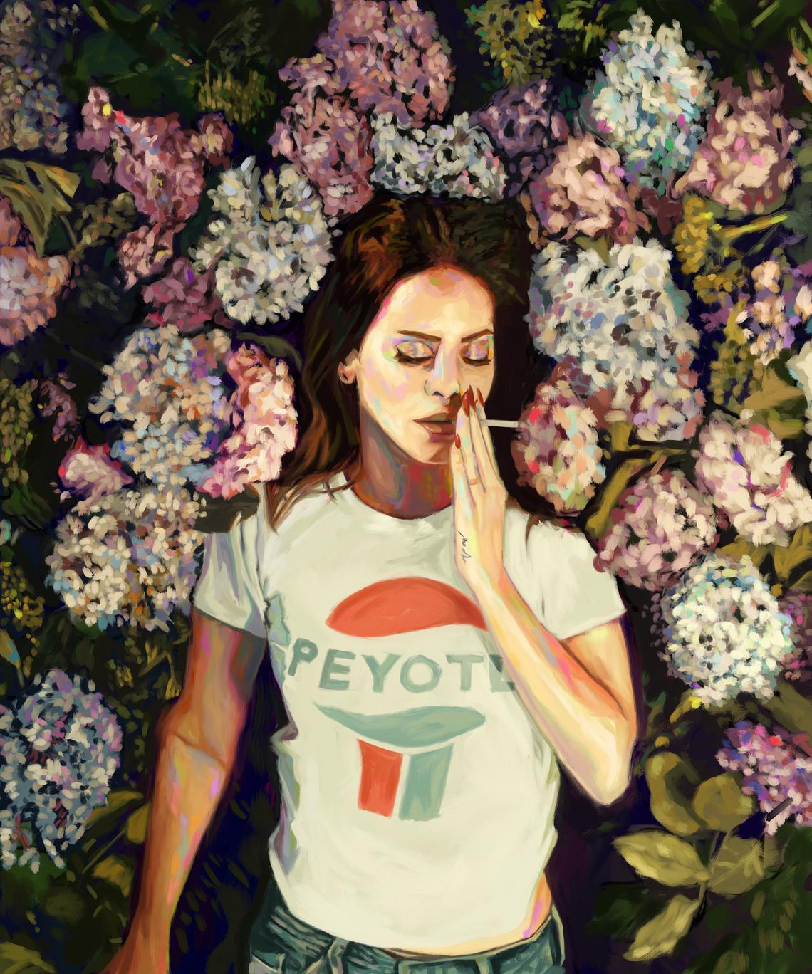 Lana Del Ray Born to Die Floral Painting Nashid Chroma 8×10 Unframed
