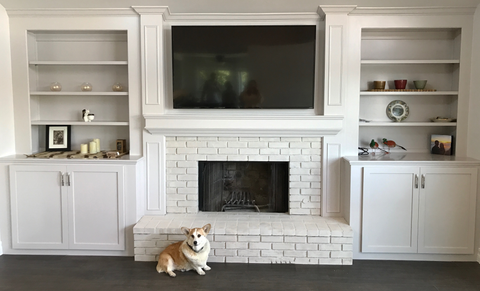lime paint brick, lime wash brick, lime wash fireplace, lime paint fireplace
