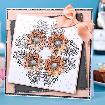 Coral Sunflower Corner Cardmaking Project