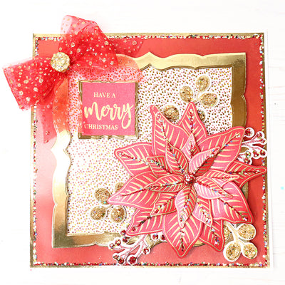 12 Projects of Christmas Day 1 - Red Poinsettia Christmas Cardmaking Project by Glynis Bakewell