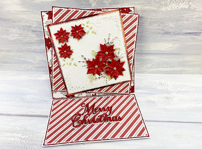 Red & White Poinsettia Easel Christmas Card Project