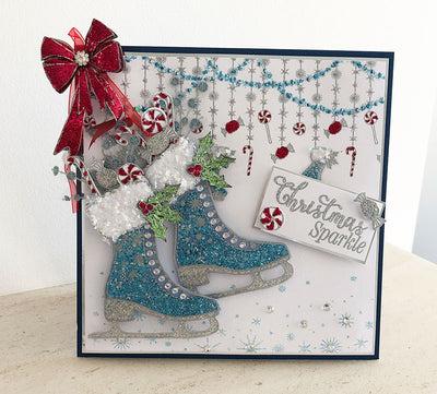 How to Make a Sparkly Ice Skate Christmas Card