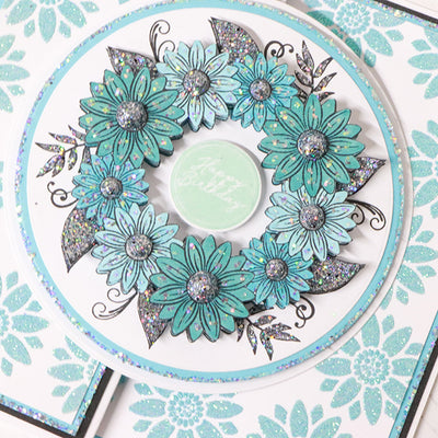 Azure Sunflower Wreath Gatefold Cardmaking Tutorial