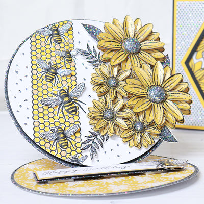 Step by Step Honeycomb and Bee Circle Easel Card Project