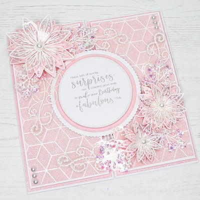 How to use our Geometric Background and Clematis Flower Stamps