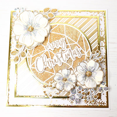 Sparkling Gold Winter Flower Cardmaking Project by Glynis Bakewell