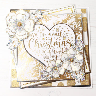 Glittering Gold May the Miracle of Christmas Heart Card by Glynis Bakewell