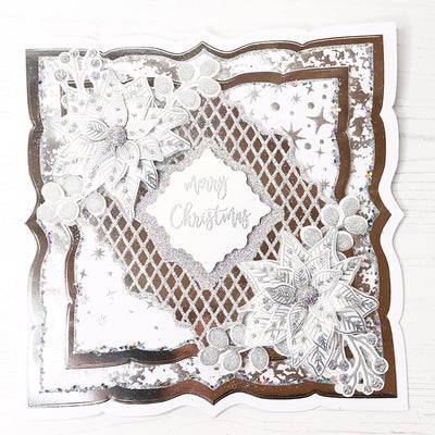 Sparkling Silver Merry Christmas Trellis Cardmaking Project by Glynis Bakewell
