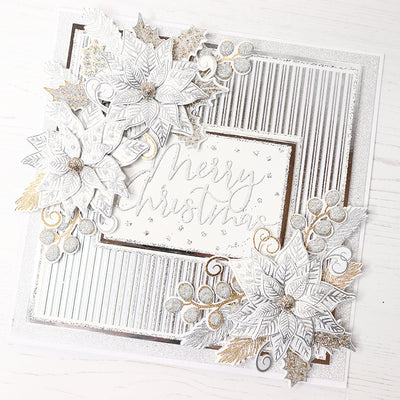 12 Projects of Christmas Day 4 - Sparkling Silver Poinsettia Christmas Card by Glynis Bakewell