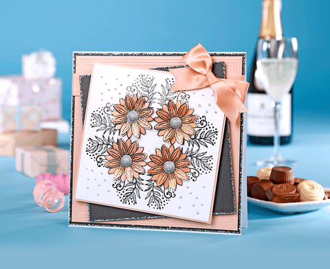 Sunflower Corner Handmade Birthday Card in Coral and Black