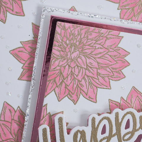 Metallic Gold and Pink Dahlia Flower With Love greetings card tutorial from Chloes Creative Cards.