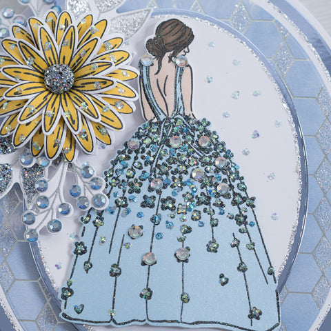 Learn how to make pretty yellow 3D flower encrusted with Sparkelicious Glitter and a lady with a beautiful Bridgerton inspired dress encrusted with Bling box crystals.