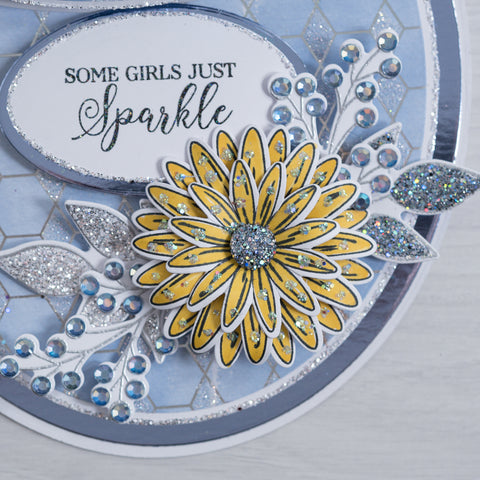 Learn how to make pretty yellow 3D flower encrusted with Sparkelicious Glitter by Chloes Creative Cards.