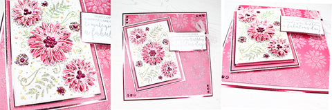 Collection of pink flower handmade cards