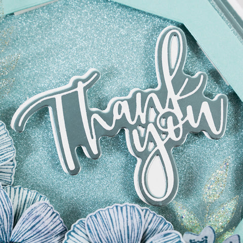 Teal, Blue & Green Glitter Thank You.  Chloes Creative Cards. (Card making tutorial). Sentiment message die cutting stamp