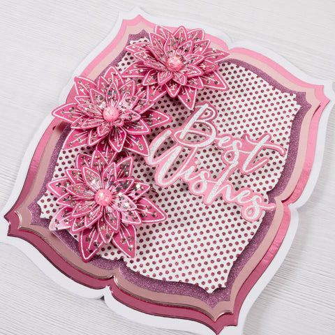 Pink Floral Clematis & Daisy Best Wishes Card.  Chloes Creative Cards.  Glitter, layering card making tutorial.