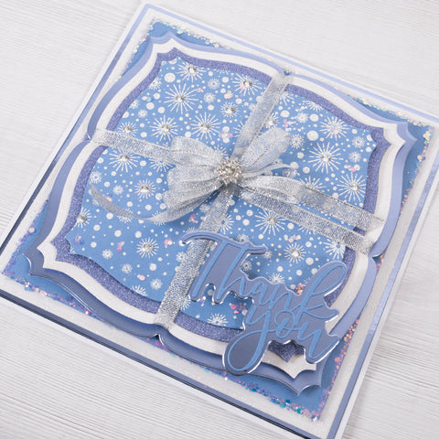 Blue and Silver Glitter Thank You Card - Chloes Creative Cards (Card making tutorial)