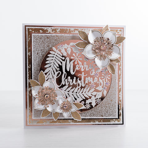 Create a beautiful Rose Gold Glitter Christmas Card with this quick and easy card making tutorial from Chloes Creative Cards featuring our newest Christmas Foliage Stamp