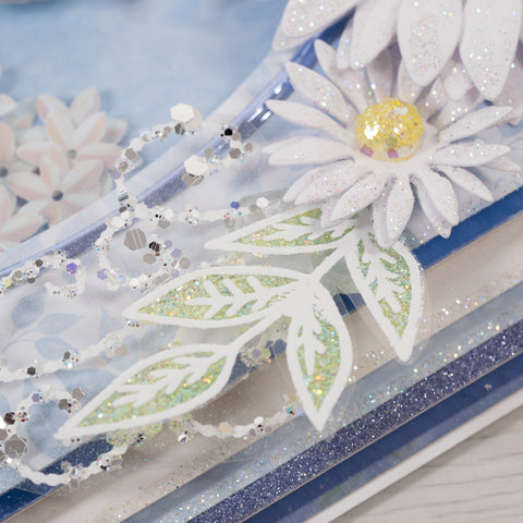 Blue Daisy Shaker Style Card.  Chloes Creative Cards. (Card making tutorial).