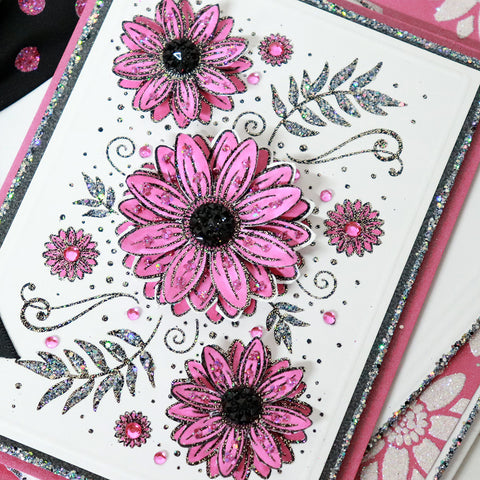 Close Up Pink Sunflower Panel Card with black centres, bow and glittery stencil background