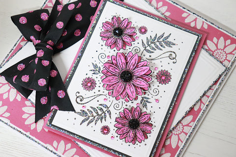 Pink Sunflower Panel Card with black centres, bow and glittery stencil background