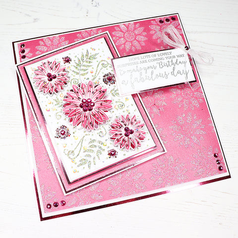 Pink Flower Handmade Card with Stencilled Glitter Background
