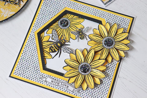 Yellow Sunflower and Bee Handmade Birthday Card with glittery stencilled background