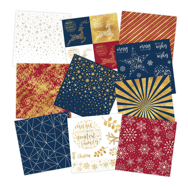 Chloes Creative Cards Foiled Paper Pad (8 x 8) - Geometric Christmas
