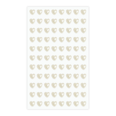 Eleganza Craft Stickers 6mm Self Adhesive Pearl Hearts Ivory