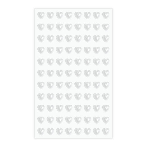 Eleganza Craft Stickers 6mm Self Adhesive Pearl Hearts White