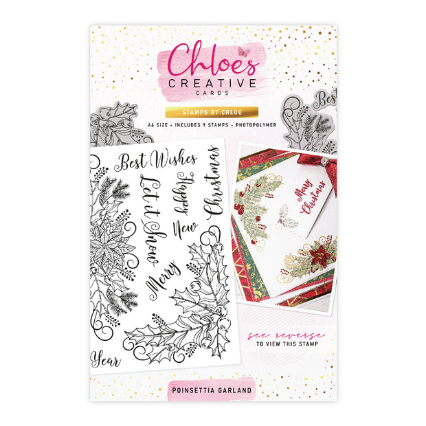 Chloes Creative Cards Poinsettia Garland Photopolymer Stamp Set