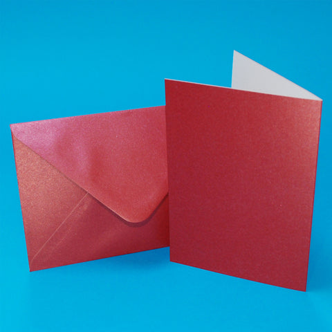 Craft UK C6 Berry Red Pearlescent Card Blanks and Envelopes