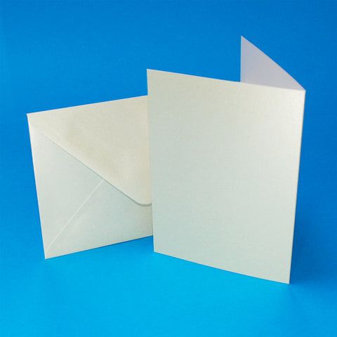 Craft UK C6 Ivory Pearlescent Card Blanks and Envelopes