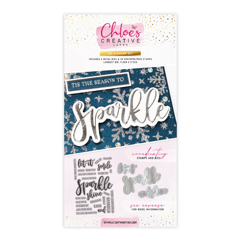 Chloes Creative Cards Die & Stamp Set - Sparkle Sentiment Builder
